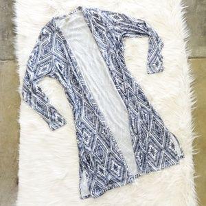 Aztec Print Open Front Duster Sweater
